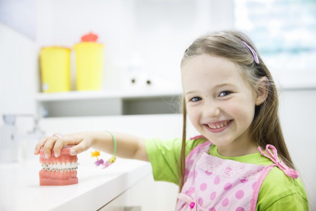 Girl holding a teeth model