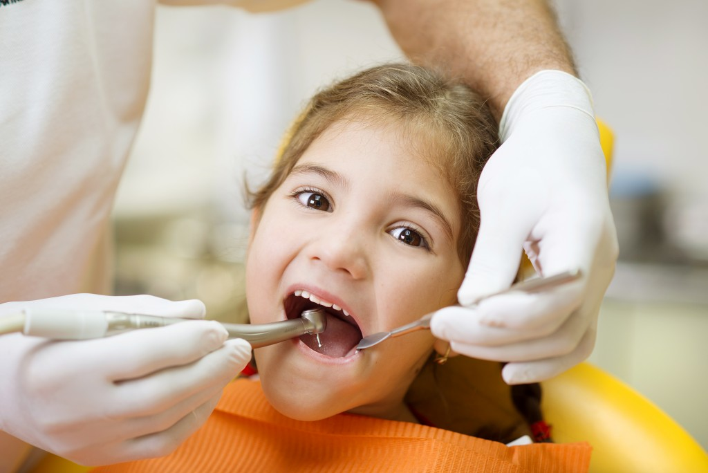 Little girl at a dental appointment