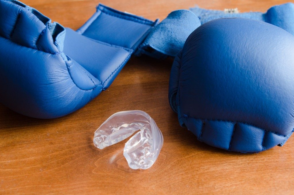gloves and mouthguard