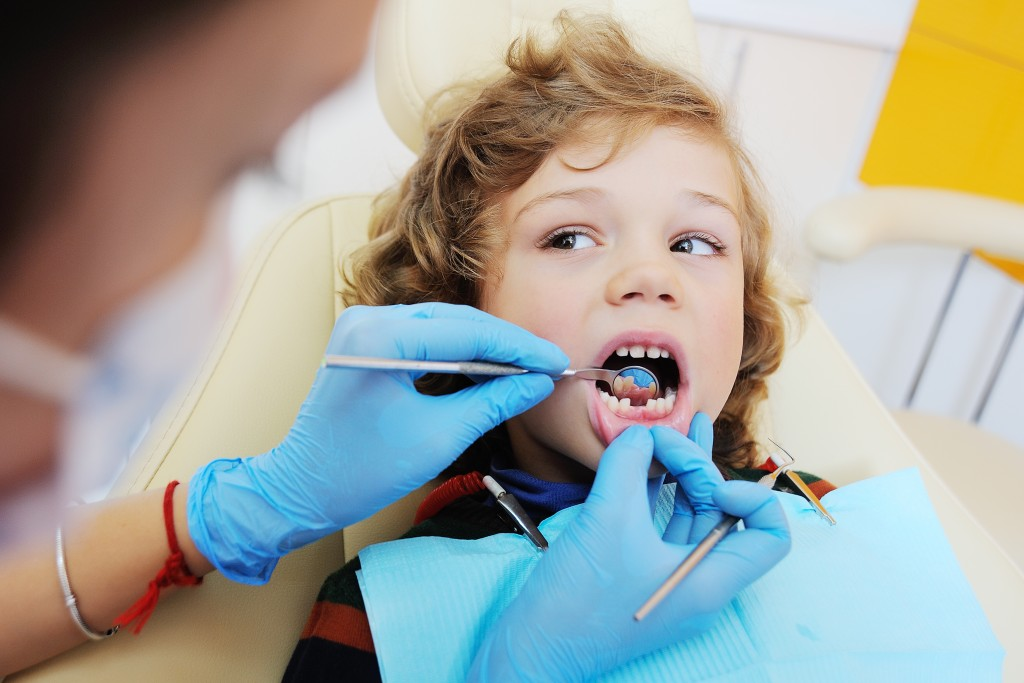kid getting a dental check up