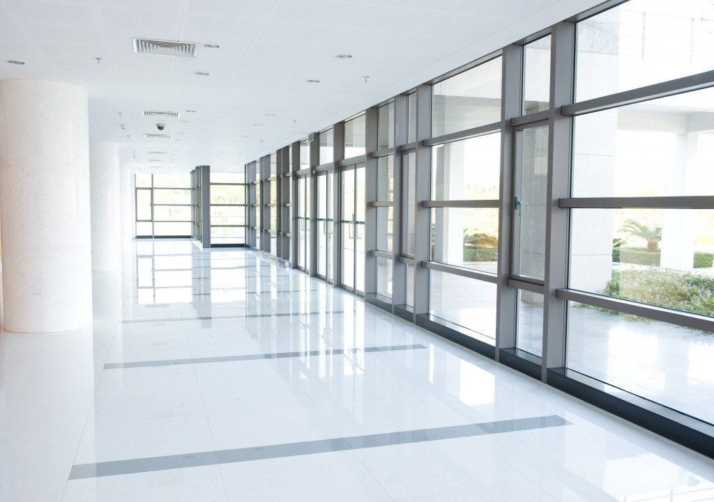 empty long corridor of building